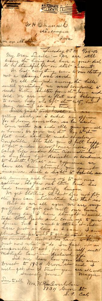 1806 San Francisco Earthquake Letter